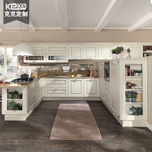 European integral kitchen cabinet custom-made white solid wood cabinet open cabinet L-type whole room custom furniture