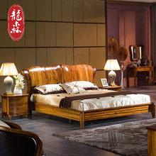 龙森全实木中式乌金木床1.8米气压高箱储
