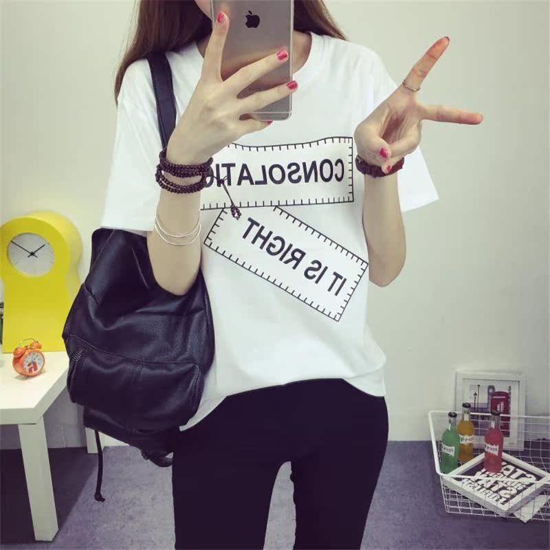 短袖t恤女夏 潮韓範 學生少女閨蜜姐妹裝原宿風大碼半袖上衣服