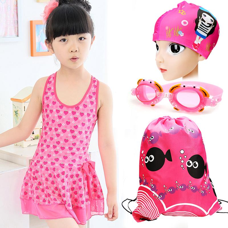 兒童泳衣 女孩中大童可愛泳裝 女童寶寶連體公主裙式遊泳衣套裝潮