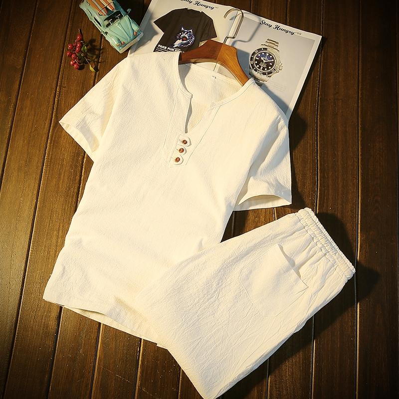 新款男装中国风短袖套装男生t恤大码短裤夏天5五分裤休闲运动衣服