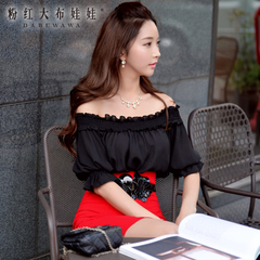 Female summer Shirt Pink doll 2015 summer styles dresses bare-shoulder blouse loose shirt women