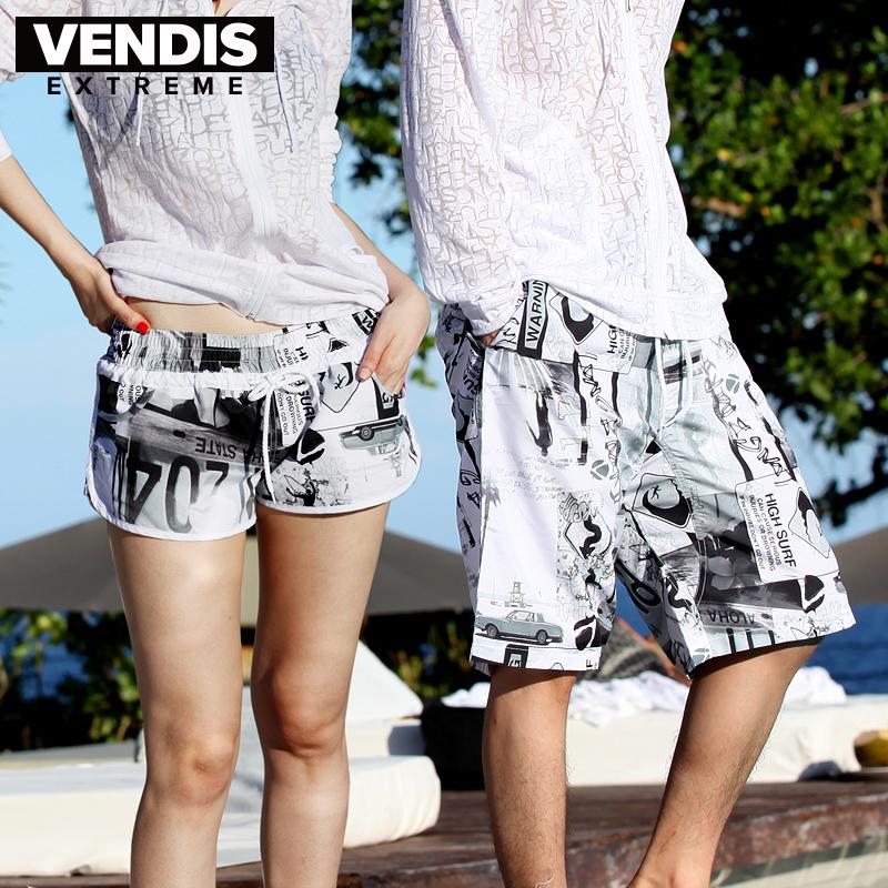 VENDIS EXTREME沙滩裤男女大码速干全内衬运动短裤 情侣黑白泳裤