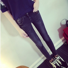 High-end temperament show thin dark grey contracted joker super embroidery jeans pencil pants pocket bound feet couture autumn and winter