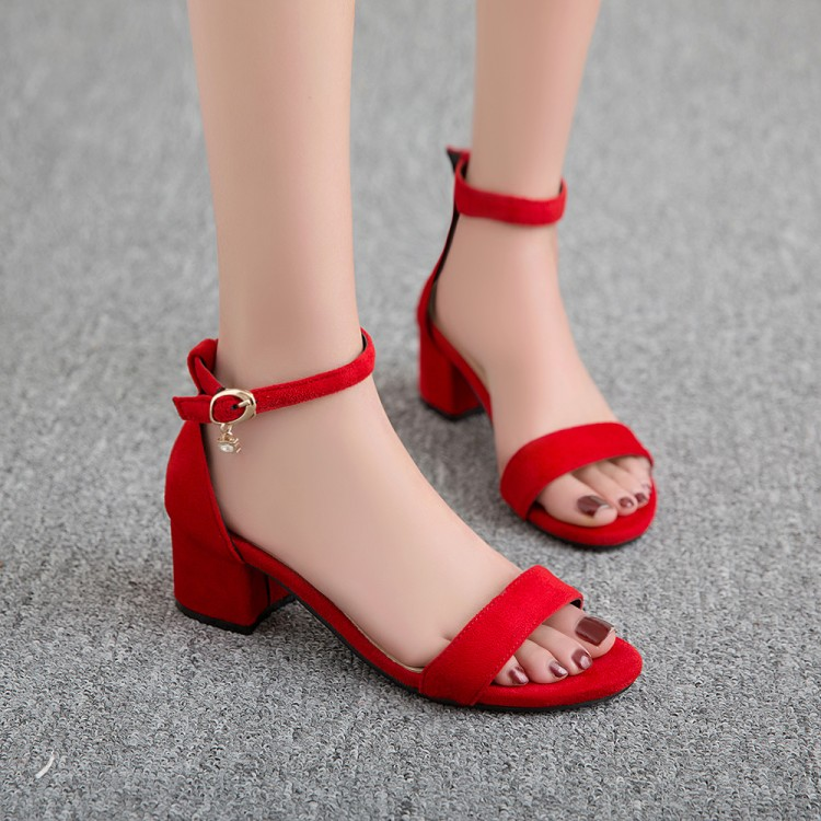 Shoes wedding shoes mom suede buckle thick heel extra large sandals 40-47 small sandals 31-33 YGP