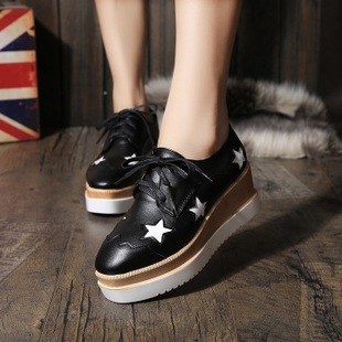 Heavy-bottomed platform shoes female 2017 spring new Korean star high-heeled shoes slope with a single shoe casual shoes tide students