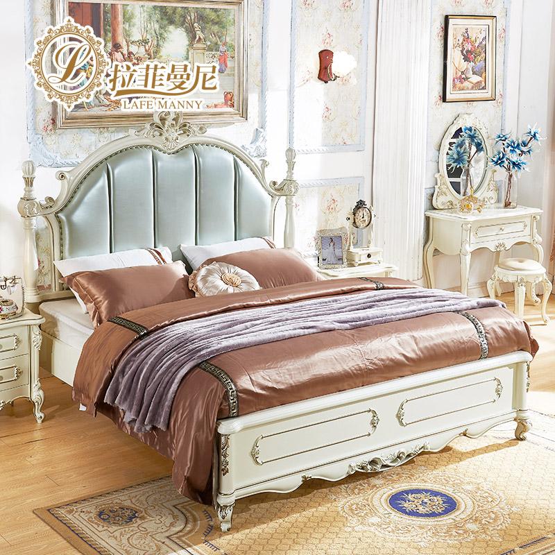拉菲曼尼全實木歐式床真皮雙人床1.8米橡木公主婚床主臥室