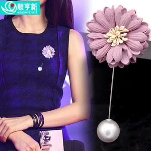 日韓國胸針女時尚百搭毛衣大別針胸花領針開衫扣絲巾披肩扣配飾品