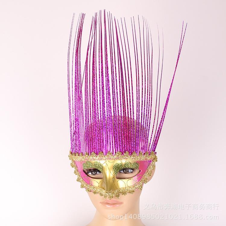 万圣节儿童节化装舞会面具半脸美女眼罩狂欢节仿古面具雨丝面具