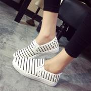 2015 winter season new Korean version of striped canvas shoes shoes shoes flat pedals lazy people the students ' casual shoes