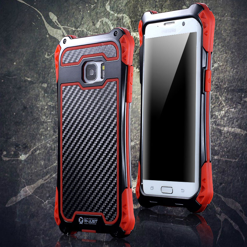 R-Just Amira Heavy Duty Dirtproof Shockproof Rainproof Aluminum Metal Bumper Carbon Fiber Back Cover Case for Samsung Galaxy S7 G9300/ S7 Edge G9350