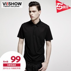 Viishow2015 summer dress new style Polo men's short sleeve polo shirt lapel pure color short sleeve slim fit Polo