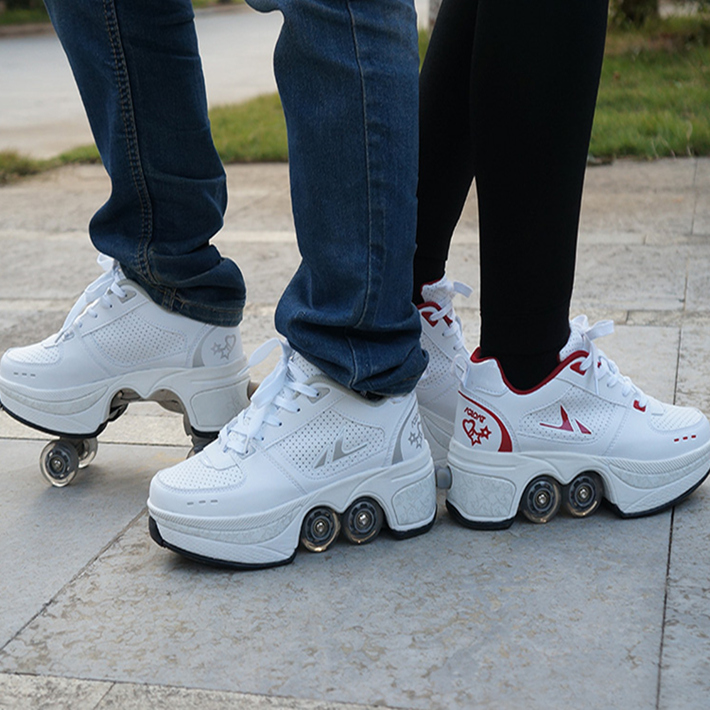 Tiktok shoes, boys skates, four round womens roller skates, sports shoes, wheels, students, good angle, and deformed shoes.