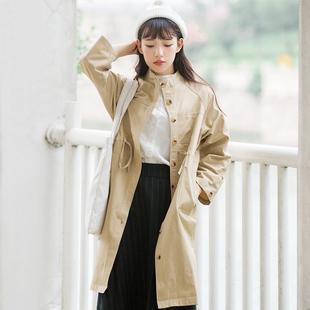 春季女装韩版复古学院风学生单排扣宽松休闲百搭中长款风衣外套女