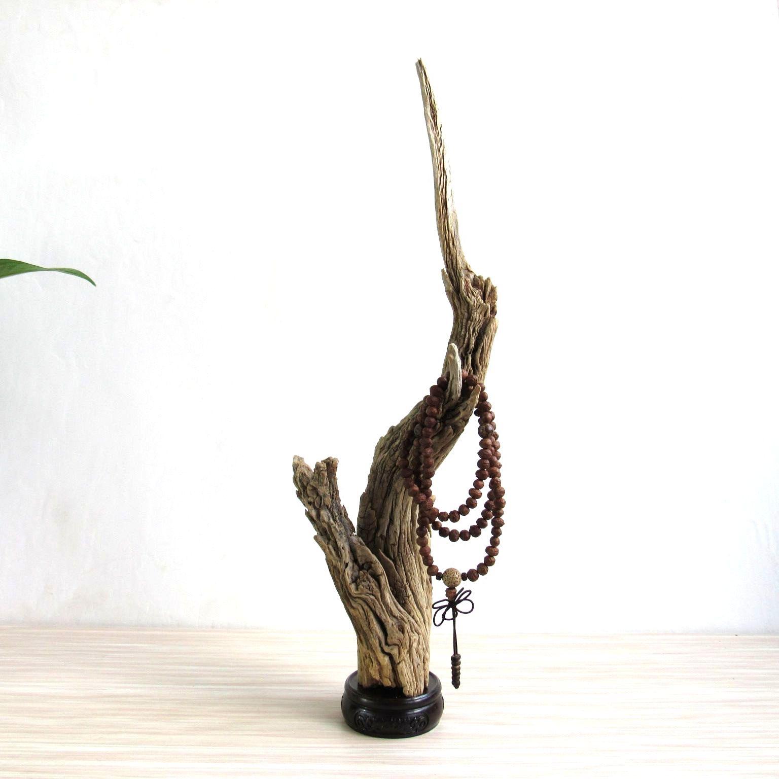 自然创意 千年胡杨枯木风化木随形摆件 家居客厅书房珠串笔架饰品