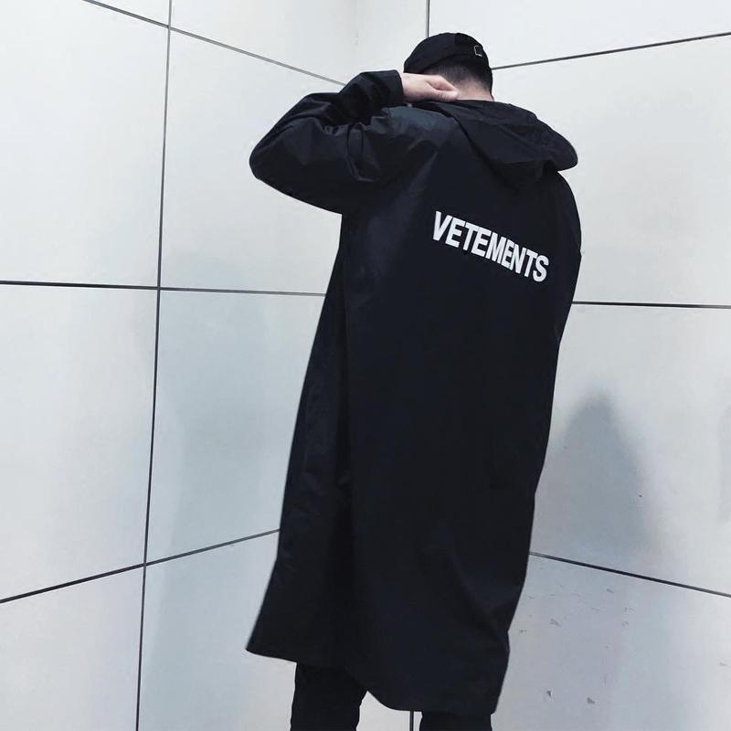GD Wu Yifan ins European and American fashion brand mens and womens waterproof raincoat long windbreaker loose super heavy rain coat