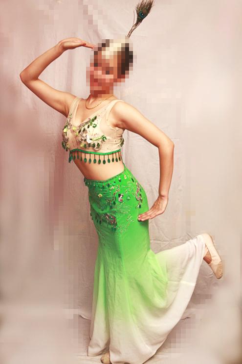 【Аренда】Bibo Peacock зеленый Костюмы Женские этнографические костюмы