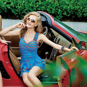 号手新款韩版女士连体裙式泳衣 时尚钢托聚拢遮肚显瘦保守女泳装