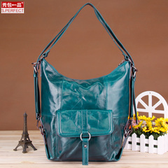 Show a first layer leather shopping bag big bag 2015 winter new European fashion shoulder bag