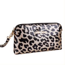 2015 leather bag female leopard hand caught leather handbags fashion women's single shoulder bag fashion inclined shoulder bag
