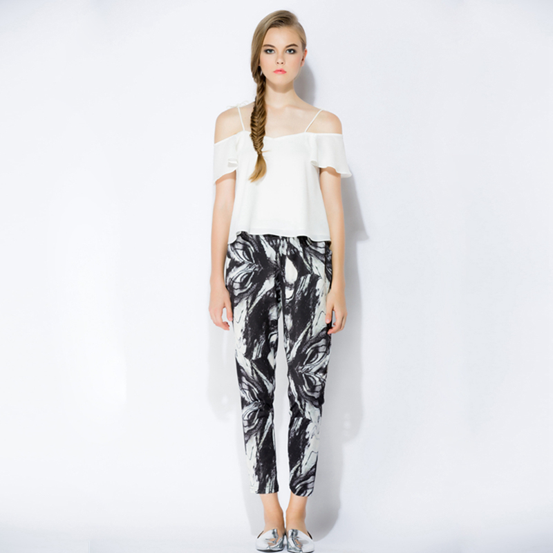 Lilou original design and production of traditional Chinese painting printing literature and art fresh slim leisure and ankle high waist fashion pants