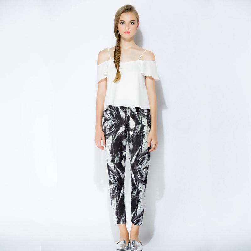 LILOU原创设计制作 国画印花文艺清新修身休闲及踝高腰时装裤