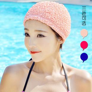 韩国长短发时尚可爱护耳布游泳帽加大不勒头温泉泳帽女布料大号