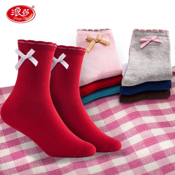浪莎童装 纯棉儿童袜子短袜秋冬加厚女童男童保暖短袜6双装袜子
