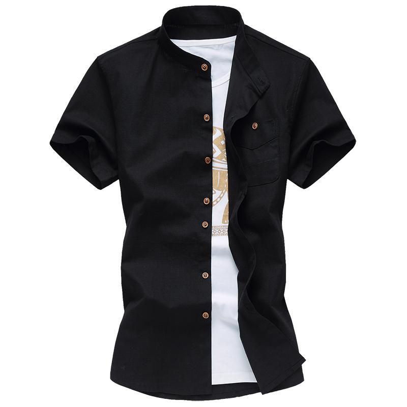 钱3005 C5-夏装男士纯色立领百搭棉麻衬衫P35平铺图 黑色