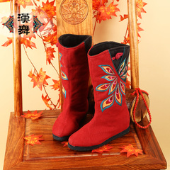 Chinese authentic dance in autumn and winter plus embroidery cotton padded boots national wind increased warm cloth boots women boots Choi