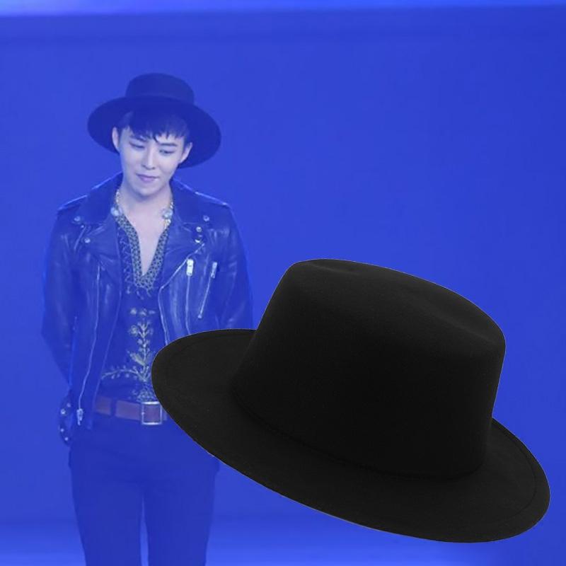 GD同款百搭毛呢黑色礼帽爵士帽绅士帽潮男韩版英伦平顶圆顶帽夏女