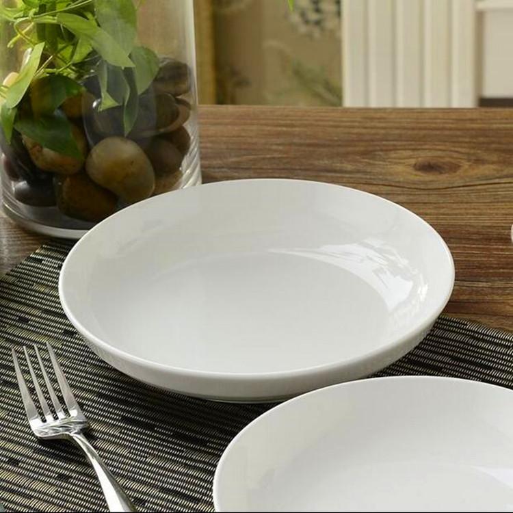 10英寸纯白陶瓷饭盘菜盘 蒸鱼盘陶瓷盘子 碟子水果盘深盘圆形餐具