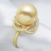 Fashion design Nanyang Kim shell pearl ring Shell pearl has offered 925 sterling silver plated gold white-collar temperament