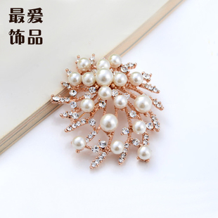 Jewelry wholesale full on luxury fashion diamond brooch pearl brooch pin Korean jewelry fashion F035