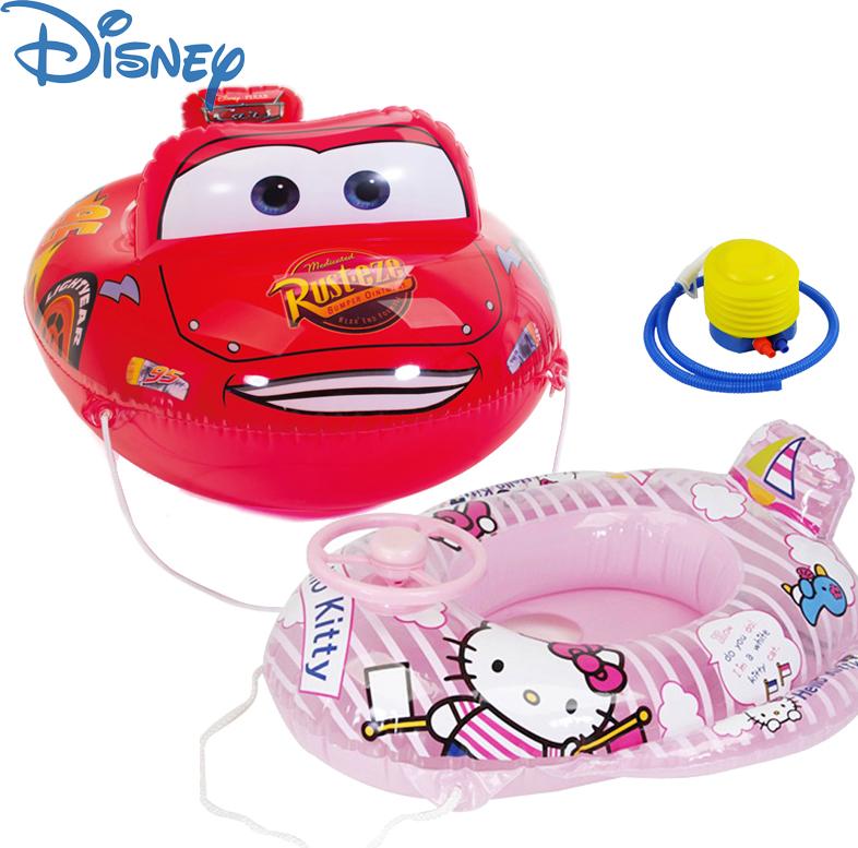 正品迪士尼兒童坐圈 小孩遊泳圈KT汽車幼兒寶寶加厚座圈 水上玩具