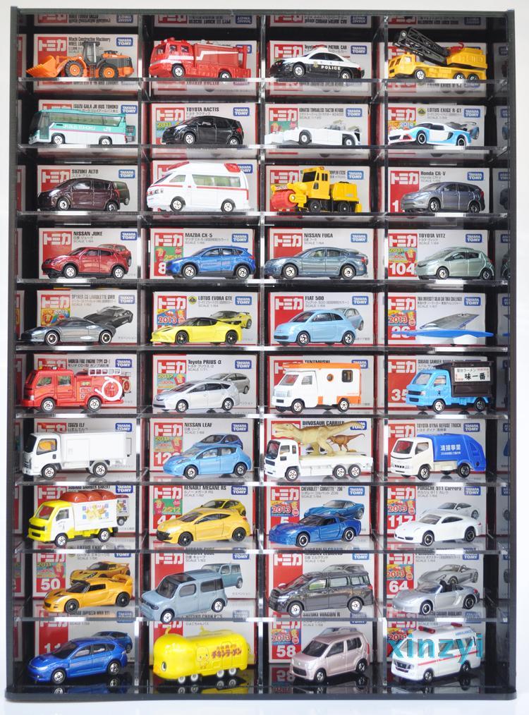 Сделанный на заказ сплав машину игрушка TOMY автомобилей прозрачный показать поле хранение кабинет 40/50 автомобиль глубокий с дверями