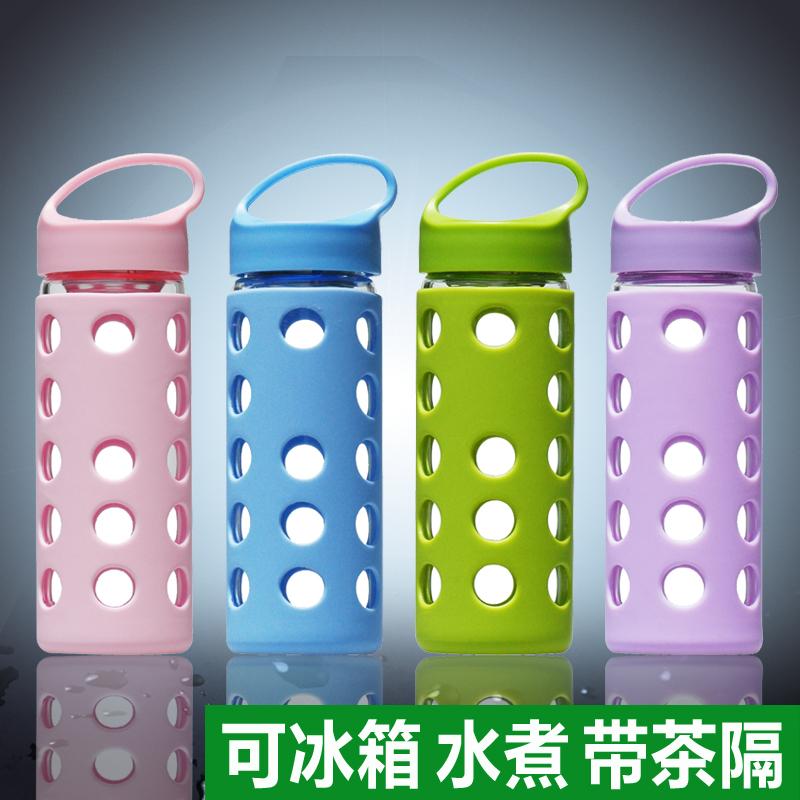 綠活 玻璃杯便攜帶蓋防漏男女士水杯子加厚過濾花茶杯學生水瓶