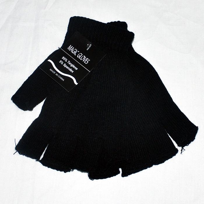 冬季女式针织全黑露指手套男士工作毛线保暖漏指键盘加绒学生半指