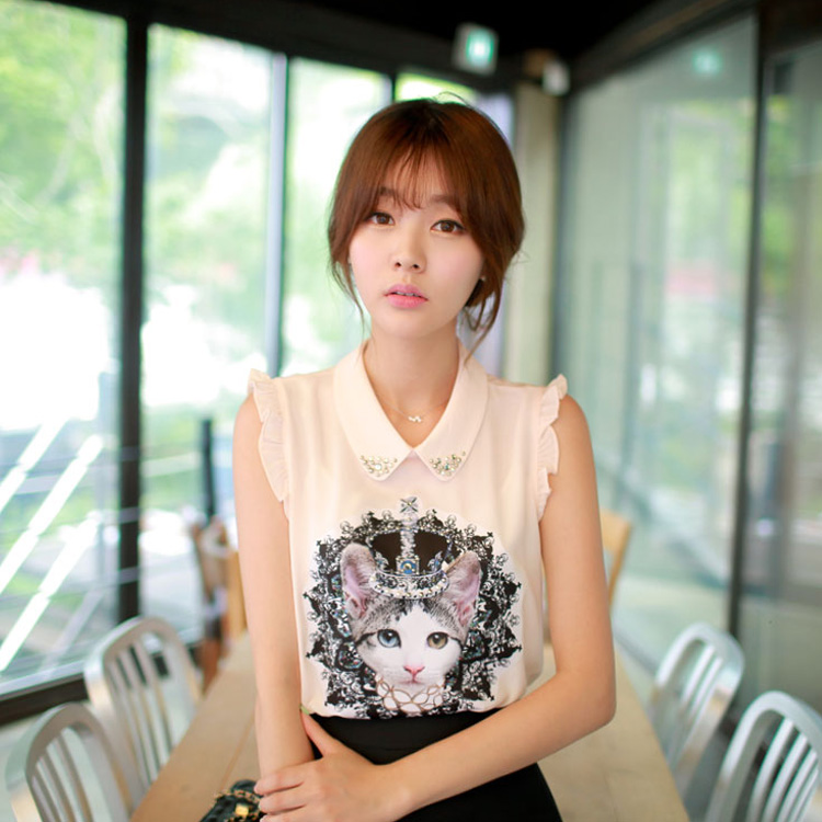 [special price every day] summer dress is versatile, slim baby collar is inlaid with diamond, sleeveless cat pattern, female chiffon shirt