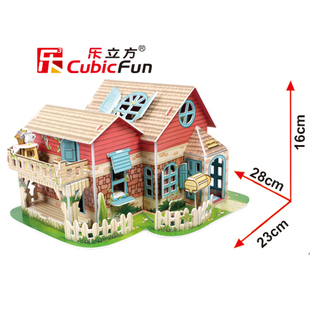 Le Cube 3d dimensional jigsaw puzzle children s educational toys force assembled Cottage Girl paper 3 4 5 years old