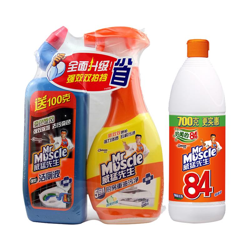 威猛先生 廚房重油汙淨+潔廁液500g~2 84除菌液700g