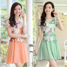 The new spring 2015 han edition printed lace render women's summer wear big yards cultivate one's morality short sleeve chiffon dress