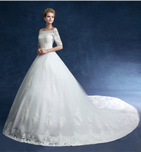 Wedding dresses 2015 fall new word shoulder the bride's Korean big yards cultivate one's morality lace trailing female