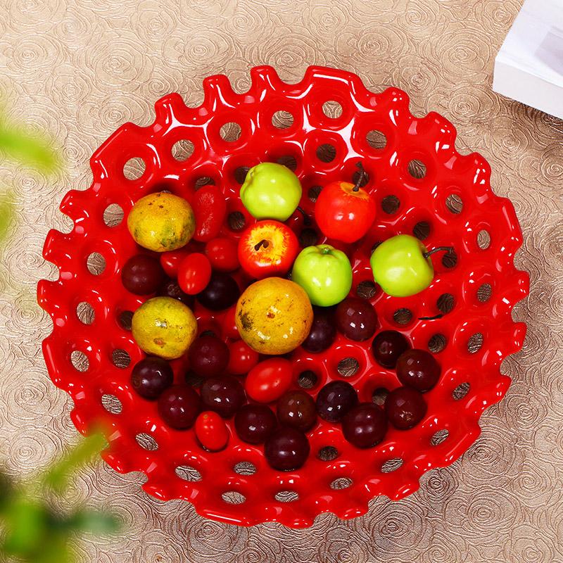 陶瓷簡約 歐式水果盤果簍糖果盤幹果盤家居裝飾品擺件結婚