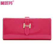 New female for 2015 long bi-fold leather wallet purse money change hands classic Velcro girl