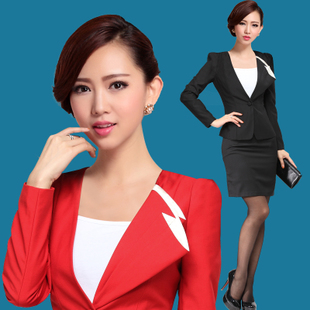 Women s autumn and winter wear skirt suits overalls female career suits ladies fashion dress fitted frock interview