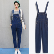 2015 new winter show thin big yards han edition joker denim overalls female college wind cowboy pants wet