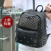 ZYA bag 2015 summer new rivet washed leather backpack bag soft leather casual Korean version flows travel bag