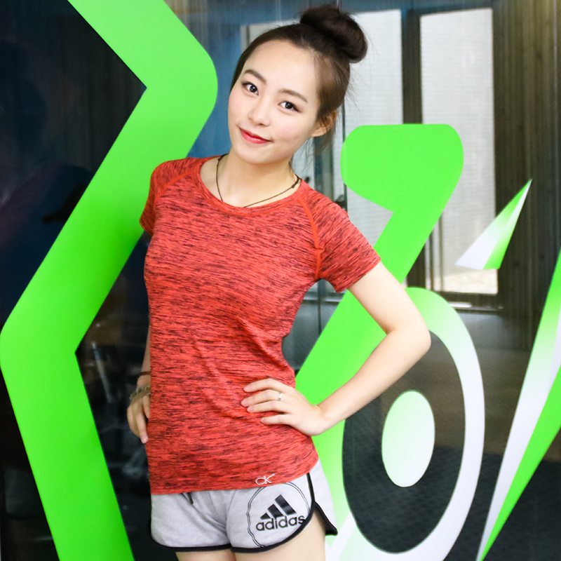 2016春夏健身服女套裝 短袖T恤跳操跑步健身服瑜伽服上衣速幹
