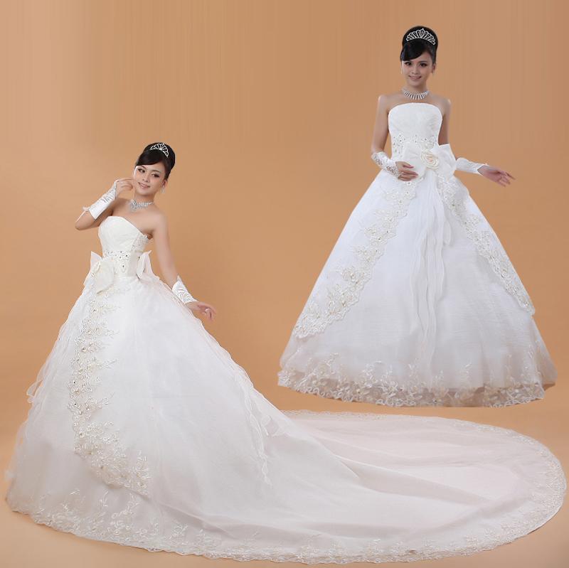 Корейский стиль выровнять Свадебные платья 2015 осень новый простой тонкий длинный замыкающий хвост обручальное кольцо свадьба